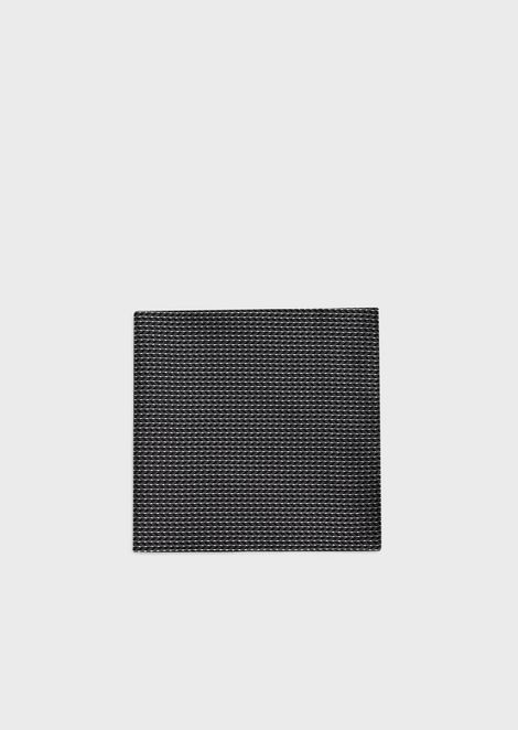 Pure silk pocket square with geometric jacquard motif