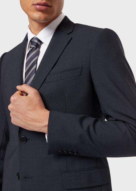Corbata de seda pura con motivo jacquard a rayas