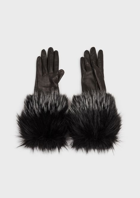 Leather gloves with faux-fur trim