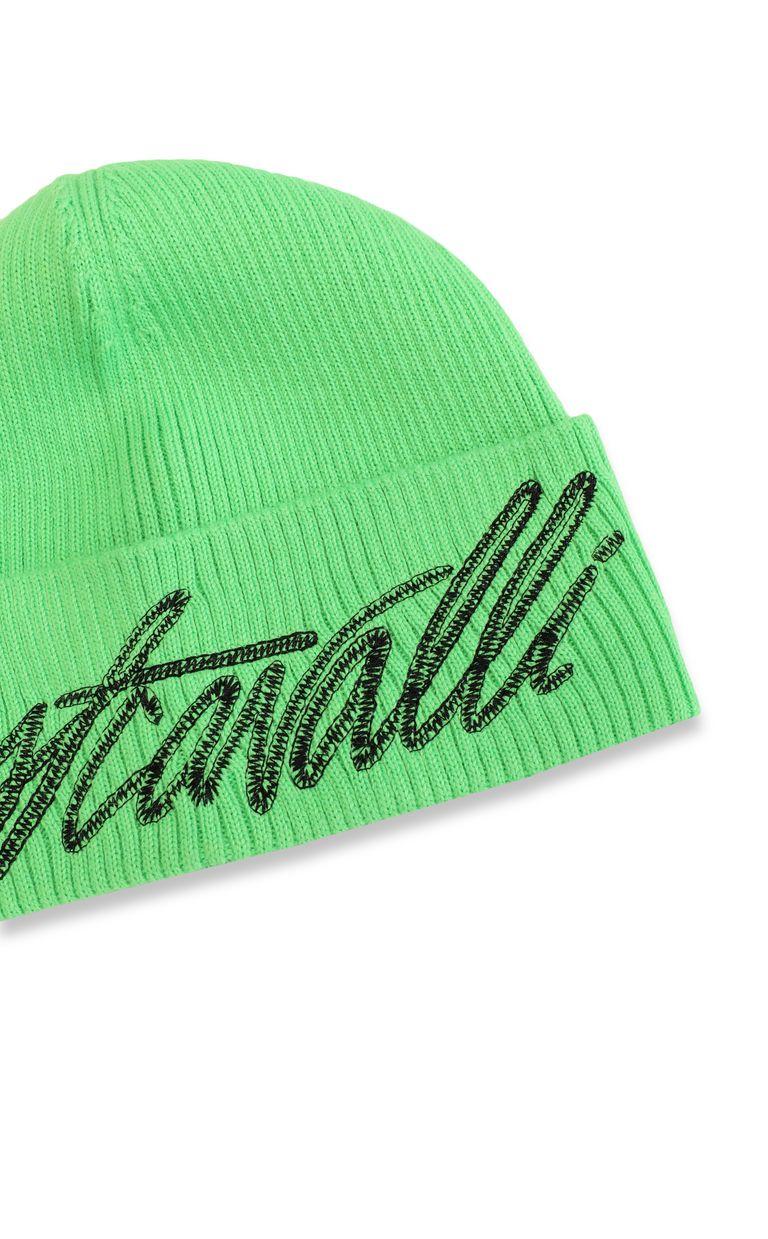 JUST CAVALLI Neon-green beanie with logo Hat Man d