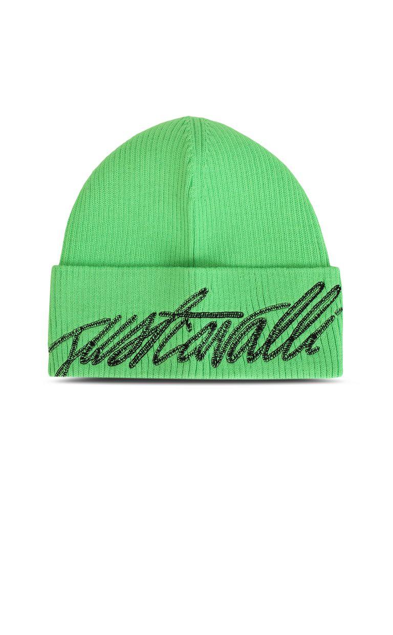 JUST CAVALLI Neon-green beanie with logo Hat Man f