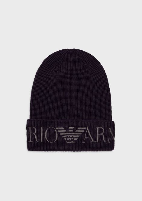Mixed wool beanie with oversized, embroidered logo