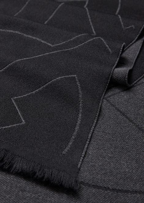 Sciarpa in lana vergine con logo jacquard