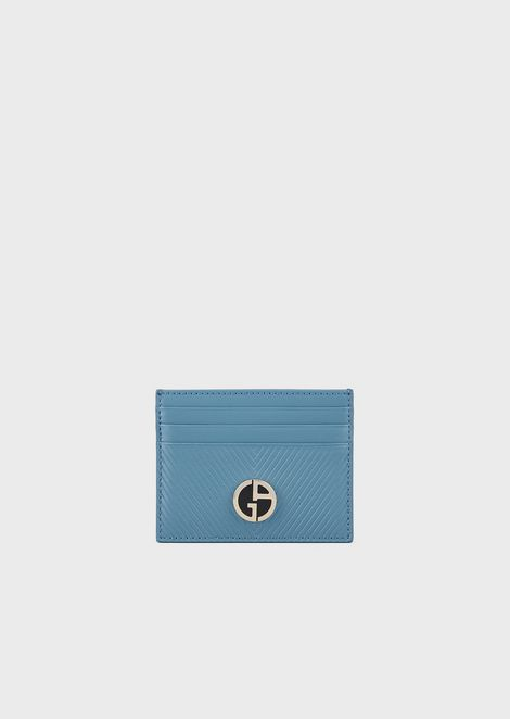 Card holder in chevron-print leather with enamelled logo