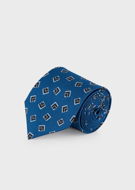 Pure silk tie with geometric pattern