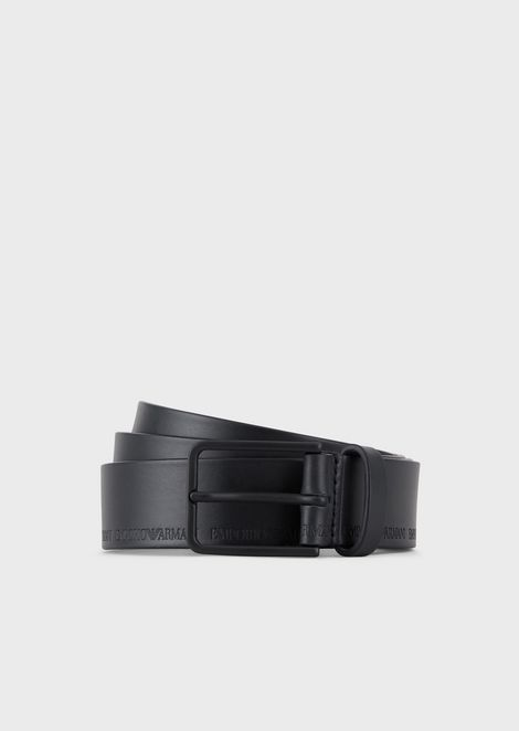Vachetta leather belt with embossed logo