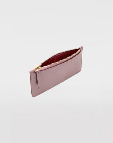 ACCESSORIES Patent leather card-holder Dove grey