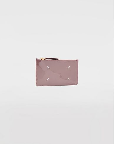 Small Leather Goods  Patent leather card-holder Dove grey