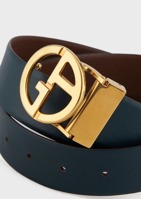 Leather belt with GA logo formed of micro-dots