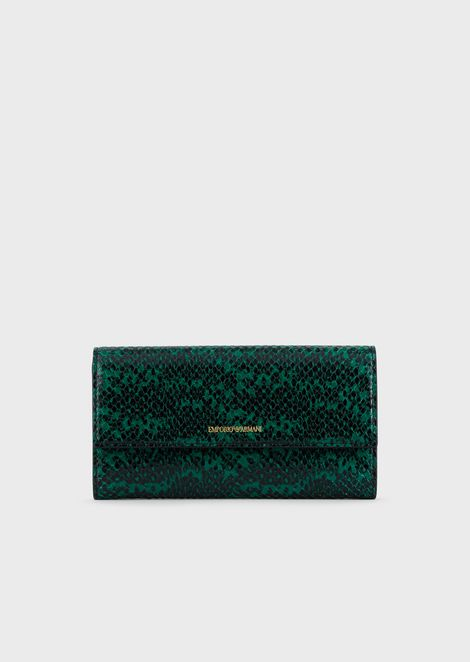 Lizard-print leather wallet with flap