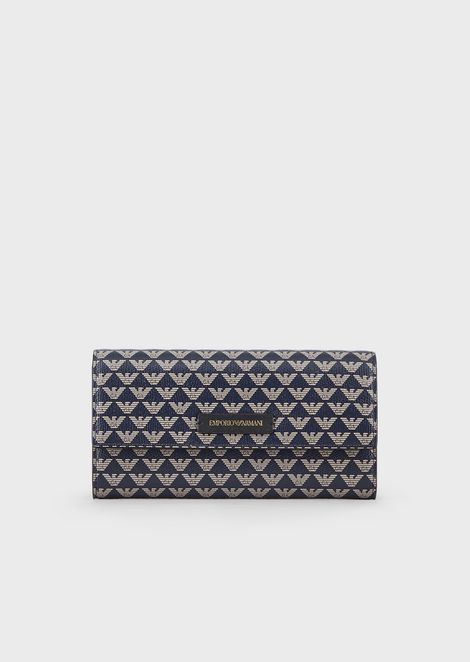 Wallet with flap and all-over monogram