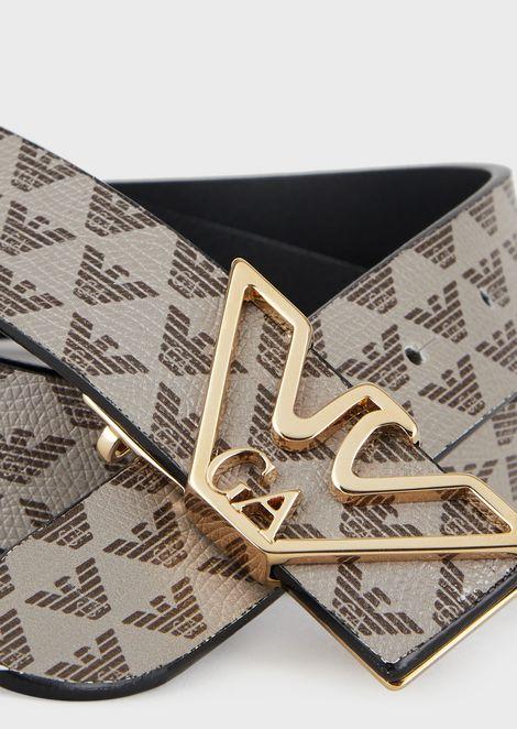 Monogram belt with contoured logo