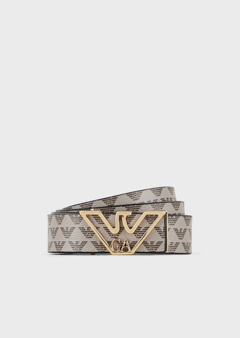 Monogram belt with contoured logo