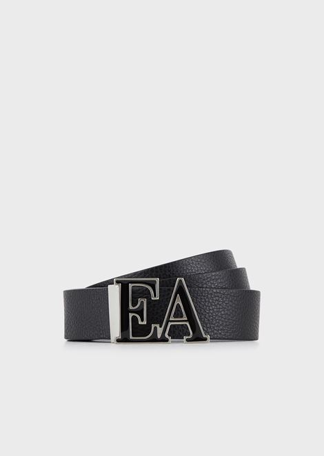 Two-tone reversible belt with contoured logo plate