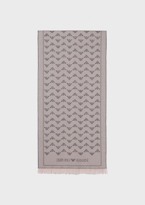 Pure wool scarf with jacquard monogram