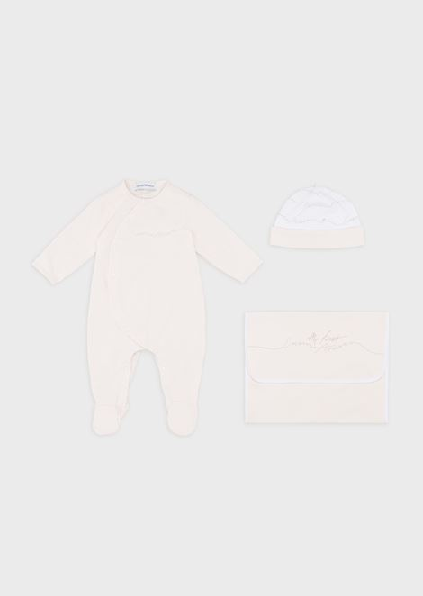 Gift set with baby suit, beanie and dust bag