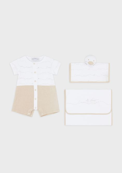 Gift set with baby suit, cuddly toy and dust bag