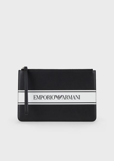 Pochette with contrasting logoed band