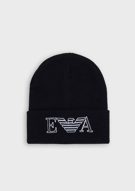 Wool beanie with embroidered logo