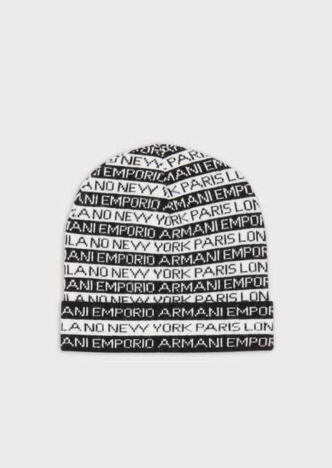 Beret in jacquard knit with all-over eagle