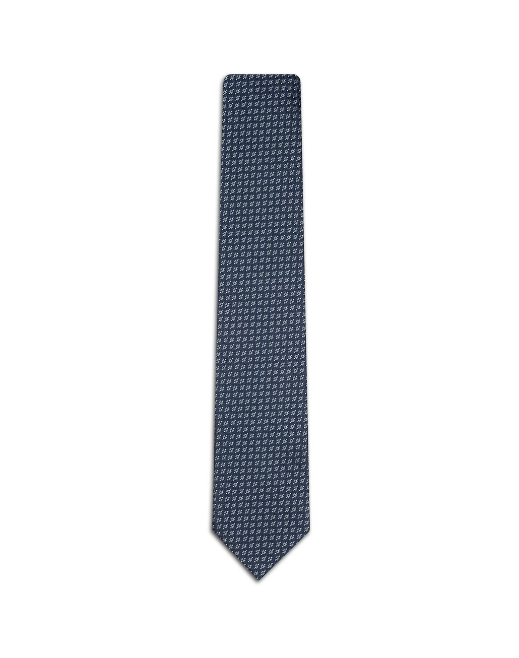 BRIONI Blue Tie with Geometric Pattern Tie Man f