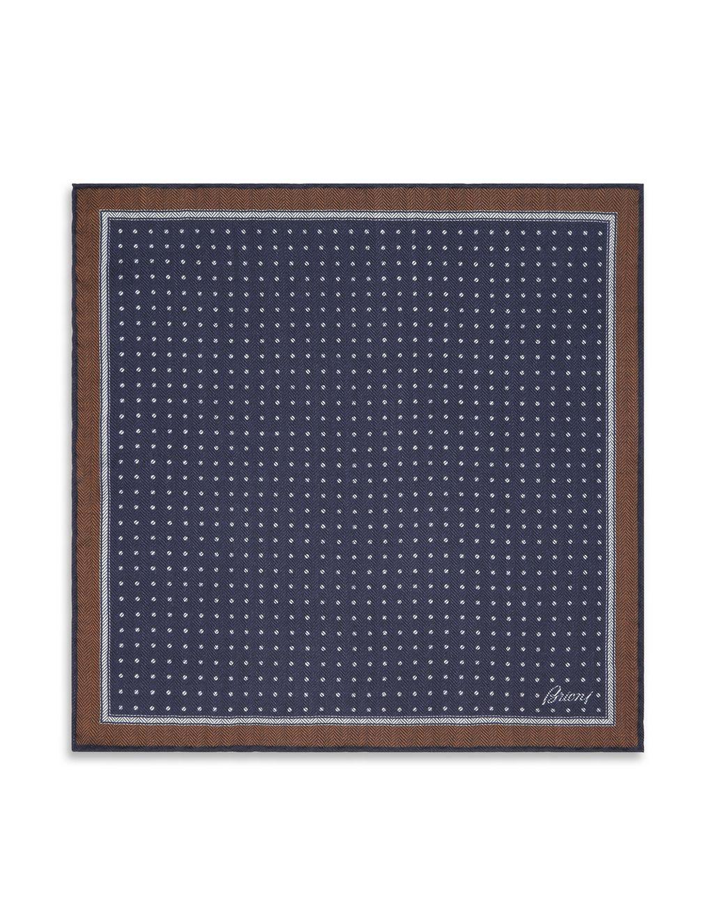 BRIONI ポケットチーフ ブルー ヘリンボーン ネクタイ&ポケットチーフ メンズ f