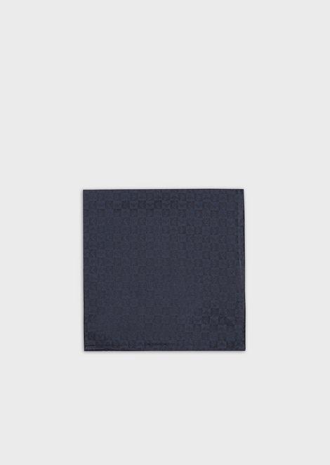 Pure silk pocket square with jacquard monogram
