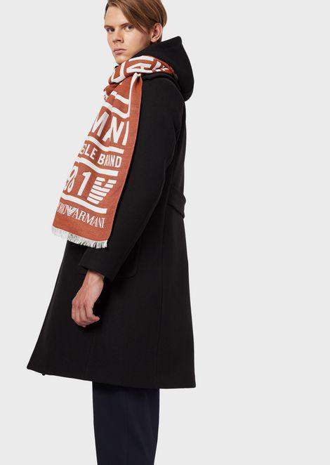 Schal mit Schriftzug und Logo in Jacquard