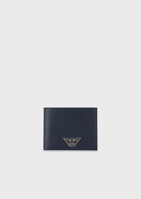 Leatherette wallet with logo plate