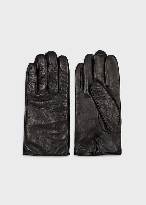 Coconut-print sheepskin gloves