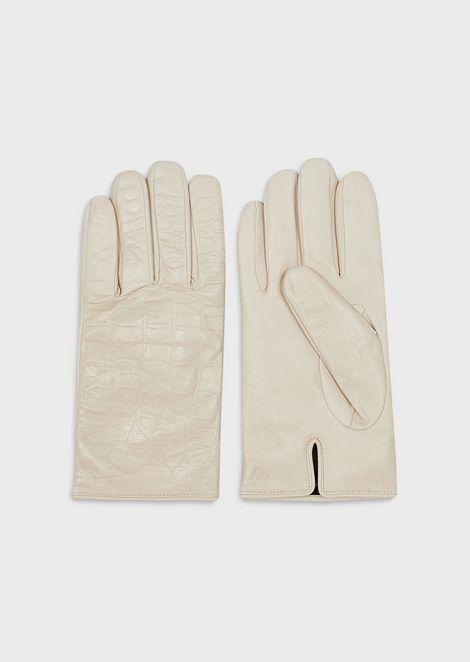 椰子印花羊皮手套