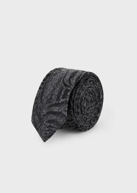 Corbata de mezcla de seda y lana con jacquard animal