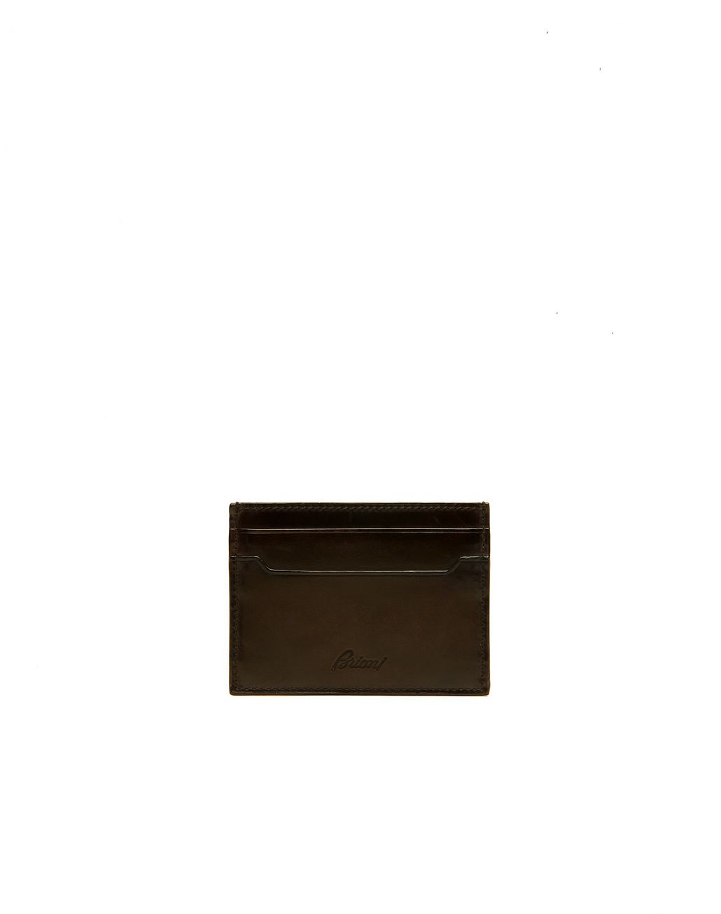 BRIONI Brown Credit Card Holder Leather Goods Man f