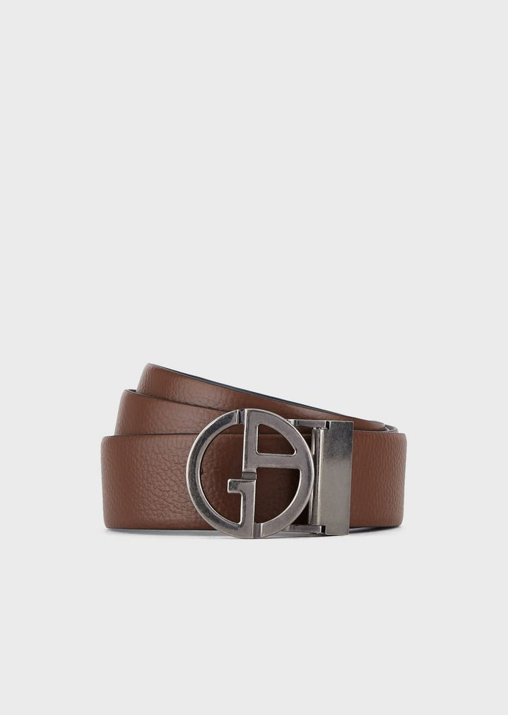 b3f6ac36b3 Reversible belt in smooth and grained leather