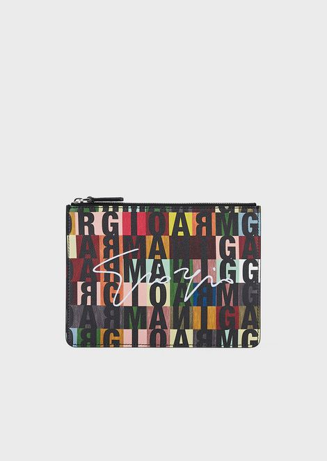 Busta in pelle stampa lettering multicolor