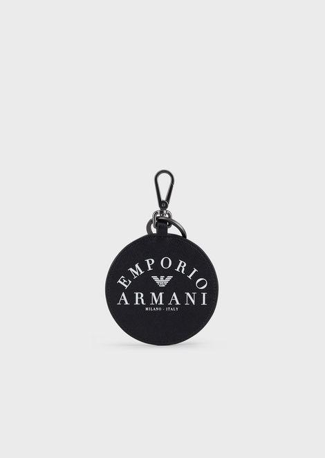 Round keyring with Emporio Armani print