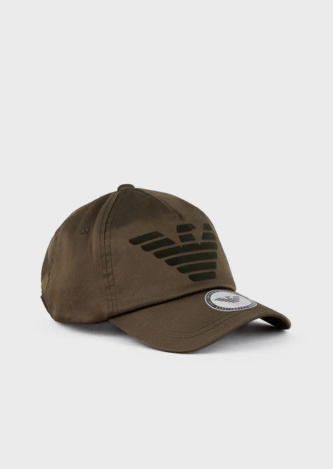 Baseball cap with flocked logo