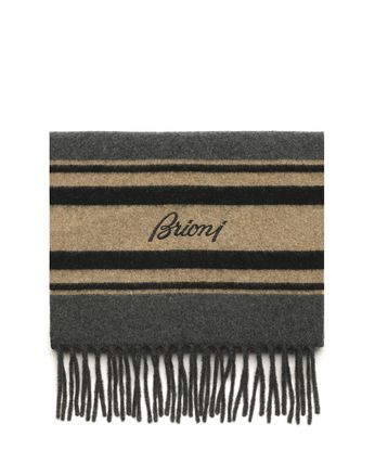 Gray Scarf with Regimental Stripe