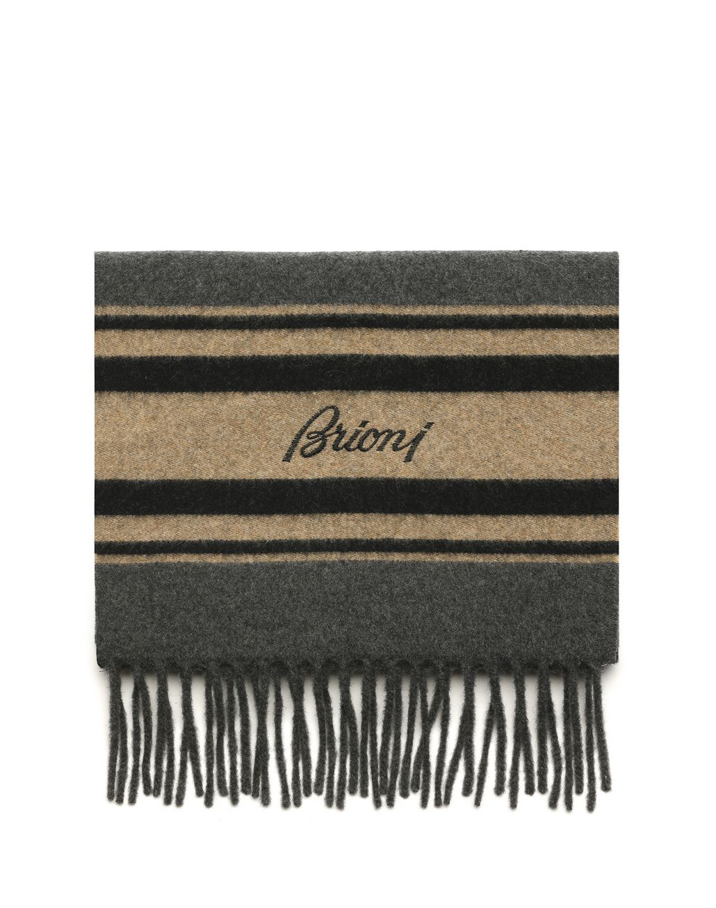 BRIONI Grey Scarf with Regimental Stripe Foulards & Scarves Man f