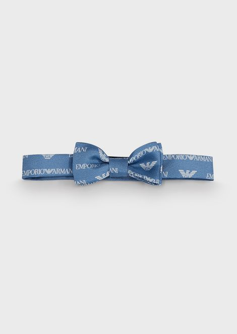 Silk bow tie with all-over logo