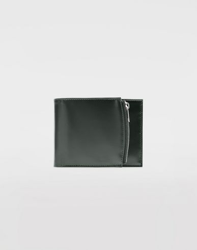 ACCESSORIES Folded calfskin zipped wallet Steel grey