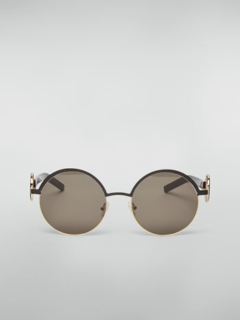 Marni Marni OBLO' sunglasses in black nickel silver Woman f