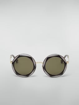 Marni Marni CROSS sunglasses in acetate and steel black and grey Woman