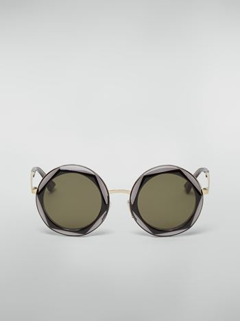 Marni Marni CROSS sunglasses in acetate and steel black and grey Woman f