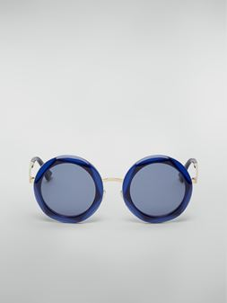 Marni Marni CROSS sunglasses in acetate and steel blue and light blue  Woman