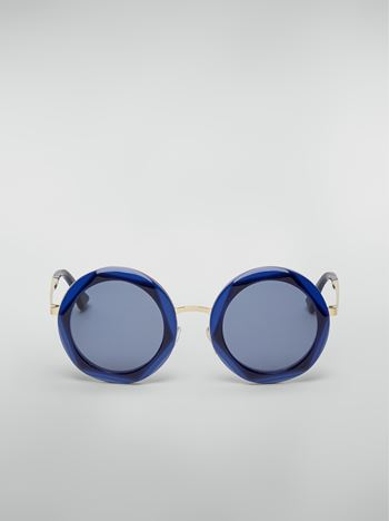 Marni Marni CROSS sunglasses in acetate and steel blue and light blue  Woman f