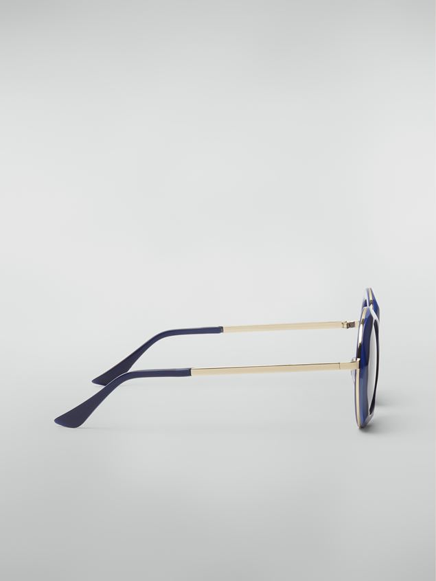 Marni Marni CROSS sunglasses in acetate and steel blue and light blue  Woman - 3
