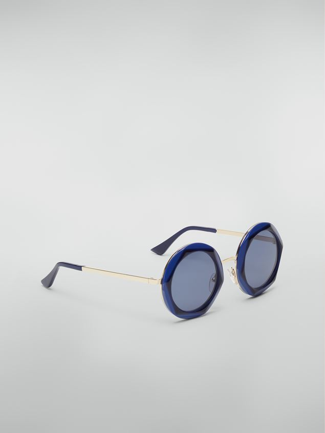 Marni Marni CROSS sunglasses in acetate and steel blue and light blue  Woman - 2
