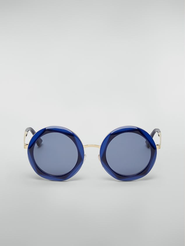 Marni Marni CROSS sunglasses in acetate and steel blue and light blue  Woman - 1