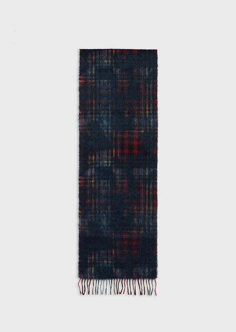 Scarf with check motif in wool and mohair blend